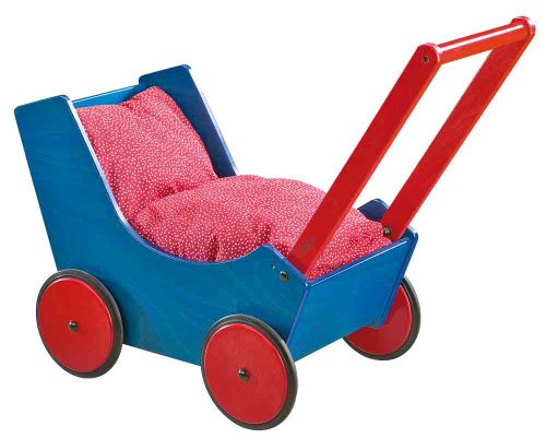 HABA Doll pram, Blue/Red Baby Doll by HABA