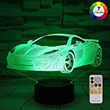 ZOKEA Night Lights for Kids Car Toys 3D Night Light 7 Colors Changing Bedroom Nightlight with Smart Touch & Remote Control Bedside Lamp for Kids Room Decor or as Birthday Gifts for Boys Kids Girls