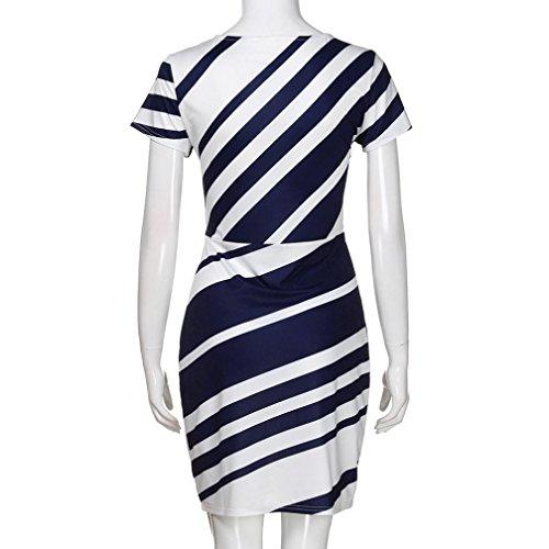 Straight Abiti Party Dress Matita da Overdose Short Donne Casual O Stripe Mini lavoro neck Blue gwSWn
