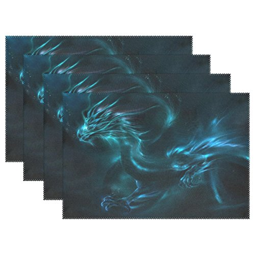 Blue Dragon Non-slip Placemats for Dining Table Kitchen Indoor Outdoor Hotel Table Placemats Heat Resistant Washable Stain-resistant Table Mats Place Mats set of 6 (Easy Halloween Potluck Dishes)