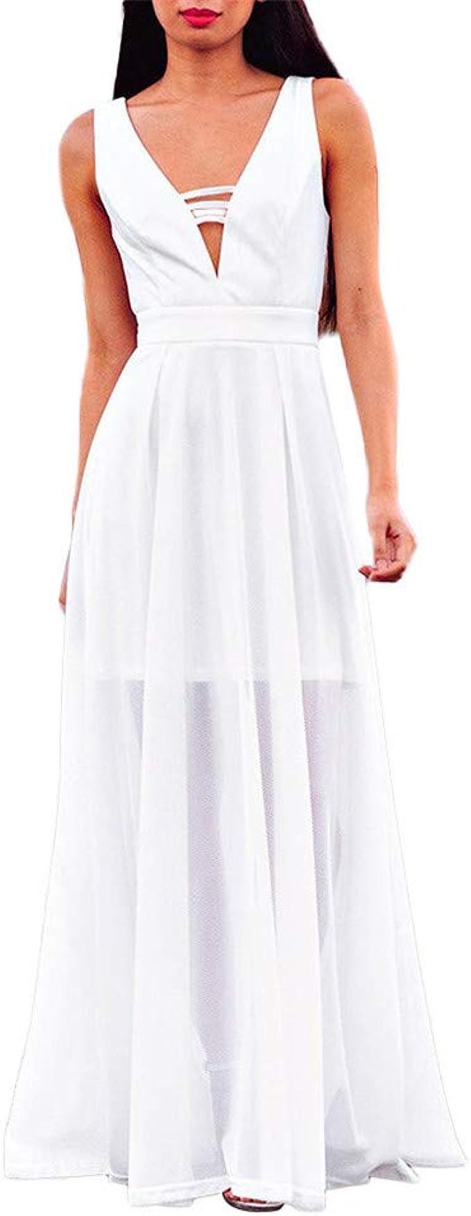 Aiserkly Chiffon Kleid Damen Sommerkleid Stradkleid Sexy V
