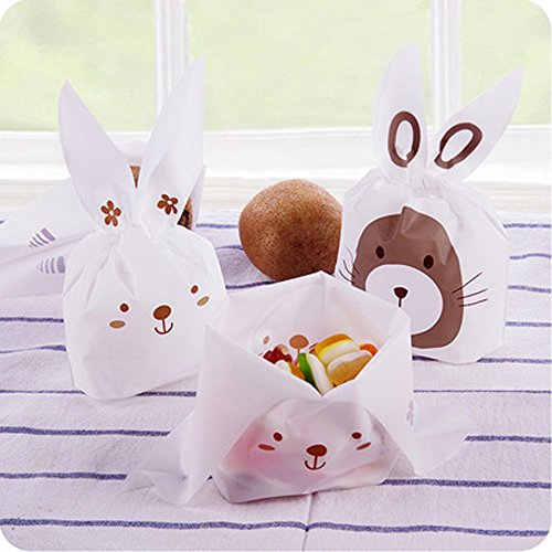 Jewelry Pouch Candy Bags, 50 Pcs Cute Rabbit Mixed Color Organza Drawstring Mini Party Wedding Favor Gift Bags (Cute Multi Mini)