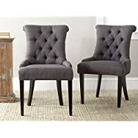 Safavieh Mercer Collection Bowie Dining Chairs, Charcoal, Set of 2
