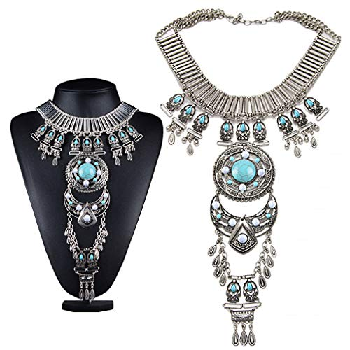 Black Sales Friday Cyber Sales Monday & Deals Week 2018-Bluegoog Womens Vintage Boho Statement Turquoise Necklace Ethnic Tribal Long Beaded Jewelry - Necklace Ethnic Silver Tribal Old