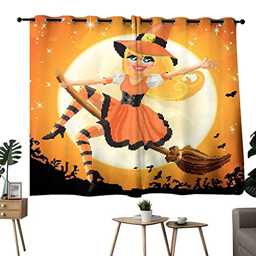 Mannwarehouse Sliding Curtains Vector Halloween Witch Flying on