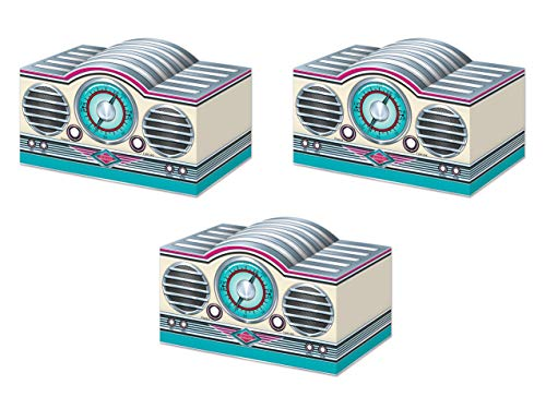 Beistle 53387 3-D Rock & Roll Radio Centerpieces 3 Piece, 5.75