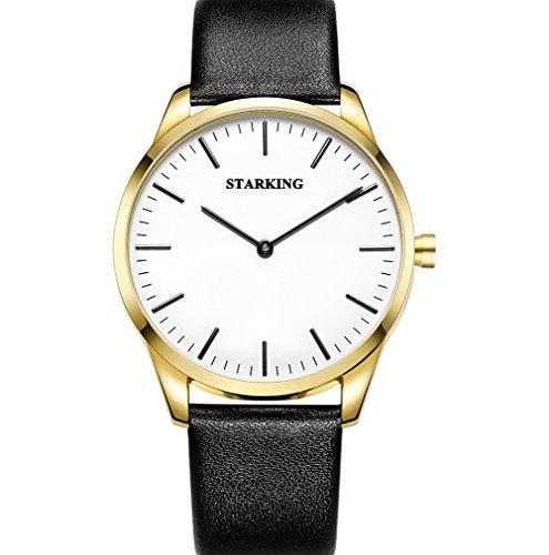 STARKING Men's Minimalist Watches Leather Black TM0908 Thin Two Hands Japanese Quartz Gold Waterproof Casual