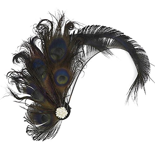 Song Qing 1920s Peacock Feather Costume Hair Clip