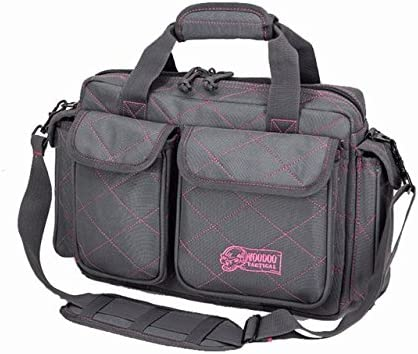 Image of a tactical range bag in brown and pink combination color, cross-cut heavy-padded stich across it, with padded shoulder strap and two front pockets.