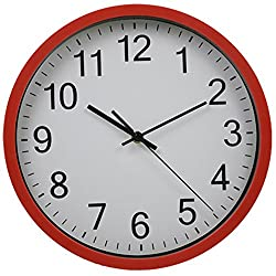 Harryup 12 Silent Non-Ticking Wall Clock Easy to Read Modern Quartz Design Clock (Red)