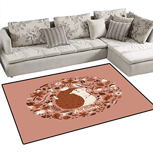"Hedgehog Girls Bedroom Rug Autumn Theme Animal Image with Many Season Elements Pine Cone Leaves Soft Colors Door Mat Indoors Bathroom Mats Non Slip 40""x55"" Coral Brown"