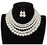 Shineland Elegant 5 Layer Strand Faux Pearl Cluster Collar Bib Choker Necklace And Earrings Suit (White)