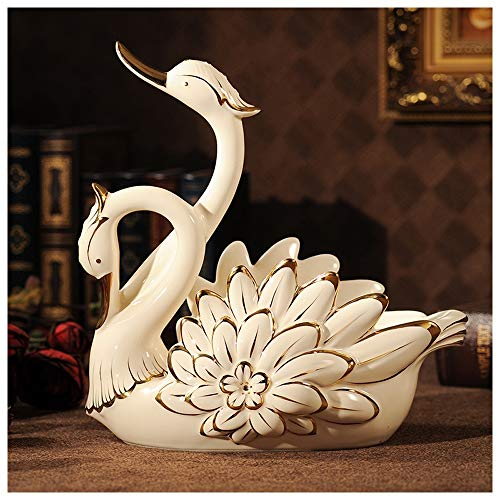 (Meet World Swan Wine Rack Decoration Wine Stand Wine Bottle Shelf European Wine Cabinet Decoration Living Room Ceramic Crafts)