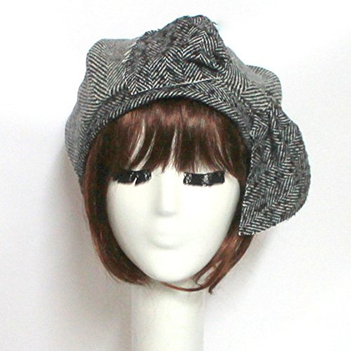 Beret Hat Bow, Black & White Herringbone Wool