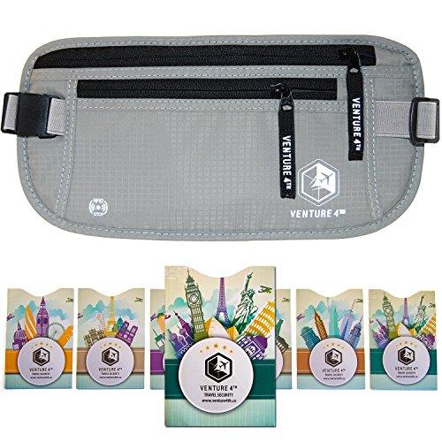 Venture 4th Travel Money Belt RFID Blocking Hidden Waist Stash (Silver + RFID Sleeves)
