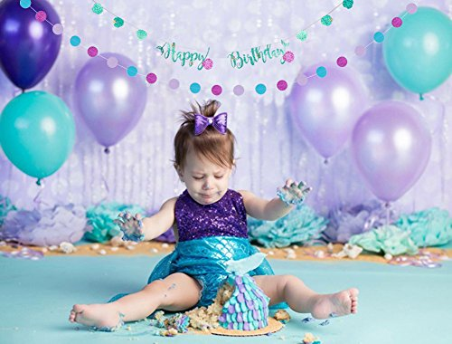 KUMEED Mermaid Birthday Party Decorations White Purple Sea Blue Balloons Happy Birthday Banners Polka Dot Garland for Baby Shower Decor