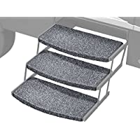 Prest-O-Fit 2-4050 Stone Gray 22 Wide Wraparound Radius RV Step Rug, 3 Pack, 3