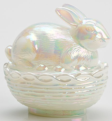 Carnival Glass Dish - Glass Easter Bunny Rabbit on Covered Dish Mosser Glass (Milk Carnival)