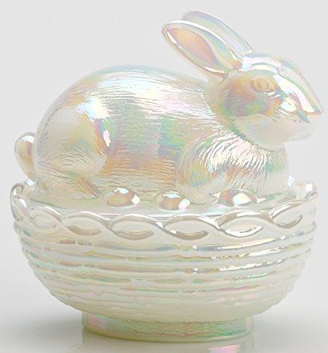 Glass Easter Bunny Rabbit on Covered Dish Mosser Glass (Milk Carnival)
