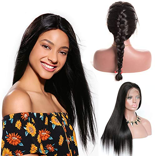 Glueless 360 Lace Frontal Wigs Straight Pre Plucked With Baby Hair 150% Density Lace Front Human Remy Hair Wigs For Black Women Natural Color (24 inch, straight 360 lace frontal - Wig 24 Straight