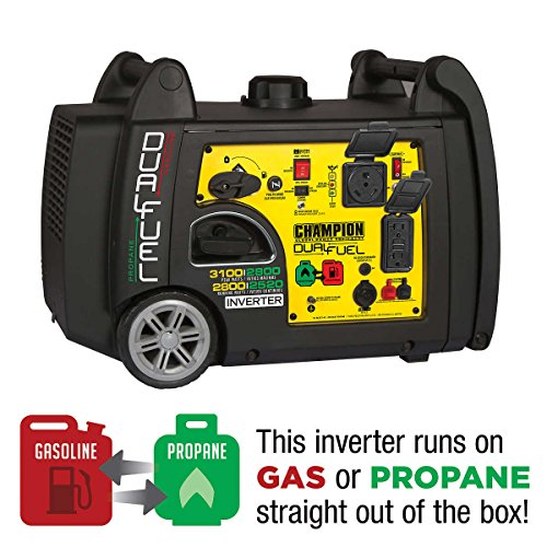 Champion DUAL-FUEL 2800wt Running / 3100wt Peak Digital Inverter Generator, Electric Start, RV Ready, Parallel Capable, CARB & EPA Certified, Low Decibels