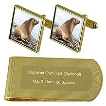Seal Gold-tone Cufflinks Money Clip Engraved Gift Set