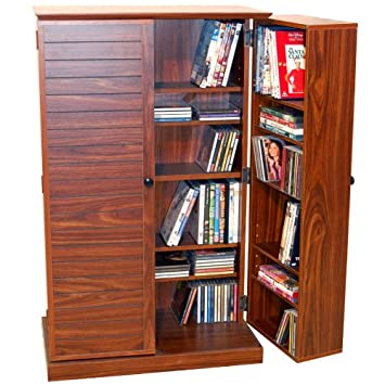 CD / DVD Storage Cabinet For Up To 600 CDs Or 290 DVDs   WALNUT Finish