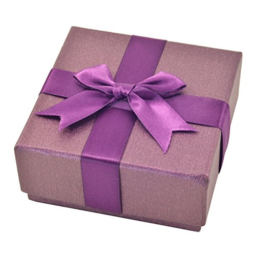 Paialco Jewelry Package Paper Gift Box Purple Ribbon Bow-knot 3 2/5-Inch by 3 2/5-Inch