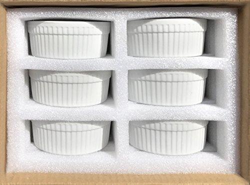 Furmaware White Porcelain 18oz Ramekins Set: 6-Piece Baking & Serving Individual Ramekin Bowls| Sturdy & Classy No Odor & Easy To Clean Ramekin Cups| Decorative Soufflé, Sauce, Dressing & Dip Ramekins by Furmaware