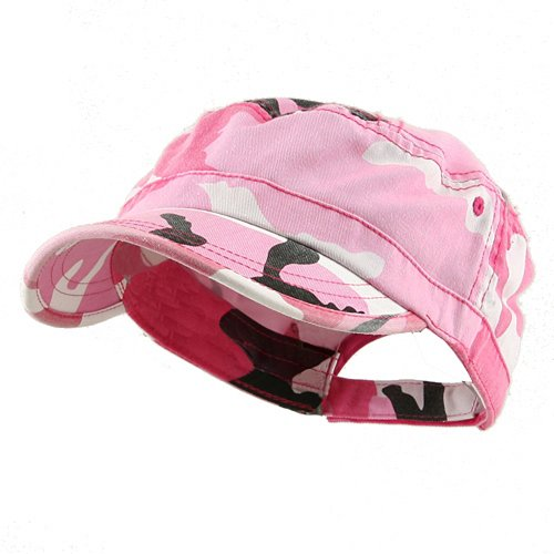 MG Women's Enzyme Washed Cotton Twill Cap Hat (Pink Camo)