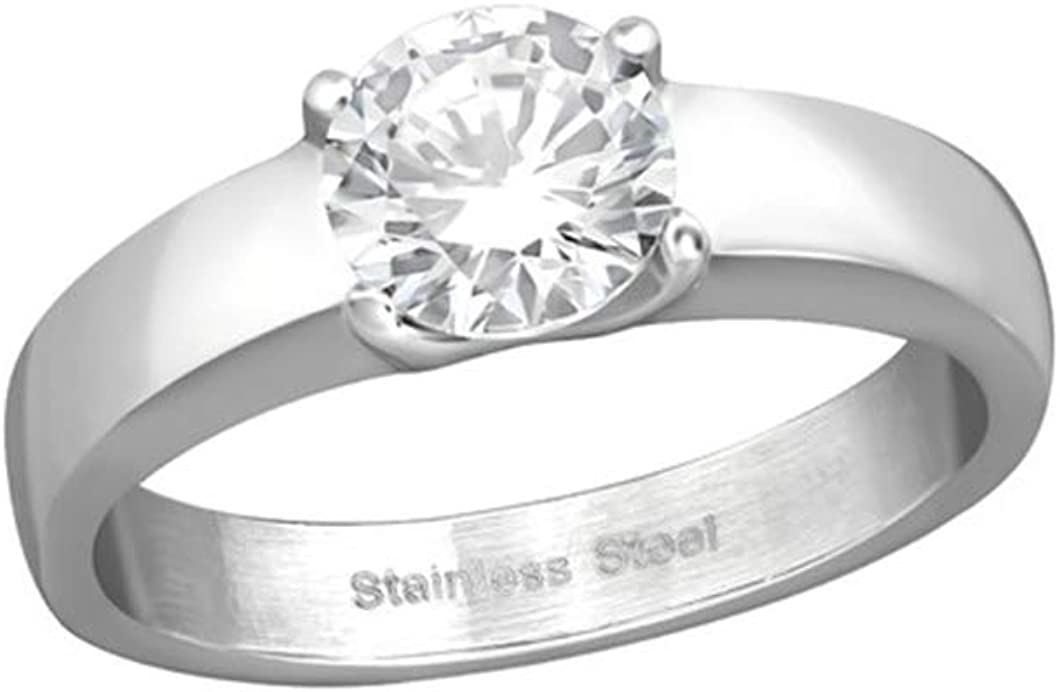 Solitaire Rings 316L Surgical Grade Stainless Steel Polished Nickel Free Liara