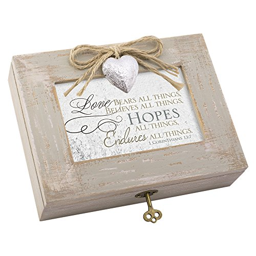 (Cottage Garden Love Bears Hopes Endures All Distressed Wood Locket Jewelry Music Box Plays Tune How Great Thou)
