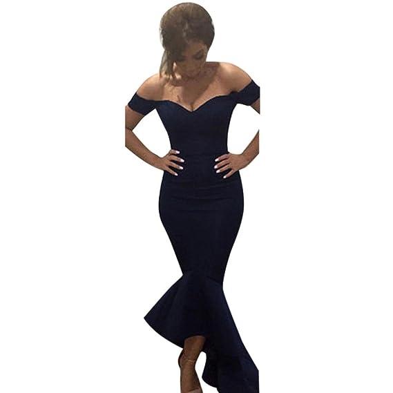 🌹 Vestido de mujer, ♡Xinantime♡ Vestido de fiesta de noche de boda formal de las mujeres Vestido largo sin mangas de sirena con hombros descubiertos: ...
