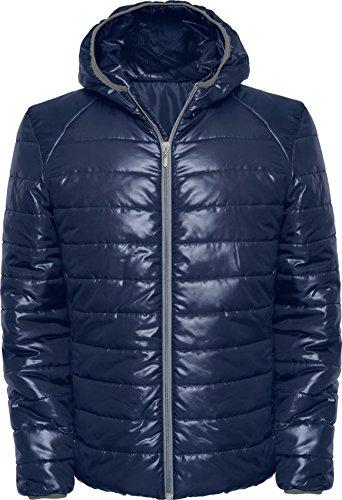 Chaqueta acolchada con relleno y capucha ajustada (L, Azul ...