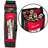 Camerons Products Christmas Wrapping Paper and Bow Heavy Duty Woven Storage Bag - Multi Compartment, XL Capacity, Water Resistant w Handles (36'' Tall)