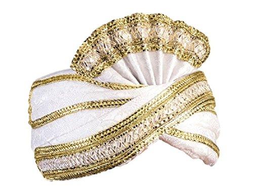 East Indian Halloween Costumes (White Maharaji Sultan Sheik Turban Arabian Prince Wisemen Hat Costume Accessory)