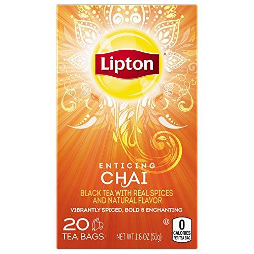 Lipton Black Tea Bags Enticing Chai 20 ct, pack of 6
