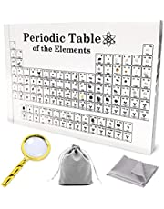 Periodic Table, Periodic Table with Real Elements, Element Sample, for Students Teachers Chemists Best Gifts Real Element Periodic Table, (Magnifying Glass   Gift Flannel Bags   Cleaning Cloths )