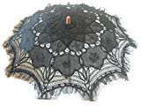 Black Embroidered Lace Parasol W/organza Lace Trim