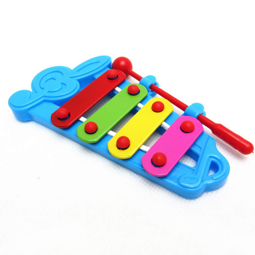 BrawljRORty Puzzles, Colorful Baby Kids 4-Note Xylophone Percussion Hand Knock Piano Musical Toy
