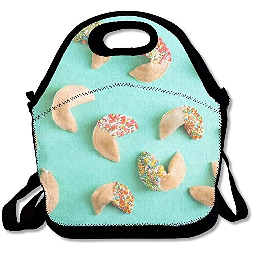 Fortune Cookies On Color Background Funniest Lunch Tote Lunch Bag Office Mid-sized ()