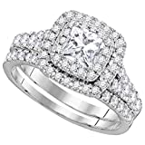 14kt White Gold Womens Princess Diamond Double Halo Bridal Wedding Engagement Ring Band Set 1-1/2 Cttw (Certified)