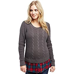 Motherhood Cable Knit Plaid Woven Sweater