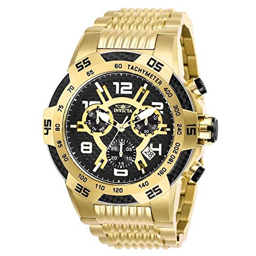 Invicta Men Swiss Quartz Steel Watch - Invicta Mens Speedway Quartz Chronograph Stainless Steel Swiss Watch - Gold - Model 25286