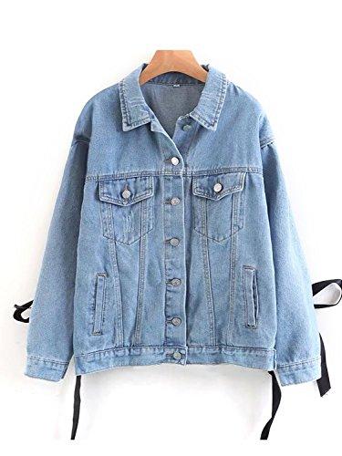 Butterfly Denim Jacket (Choies Women Blue Light Wash Long Sleeve Denim Jeans Short Jacket (Medium, Blue))
