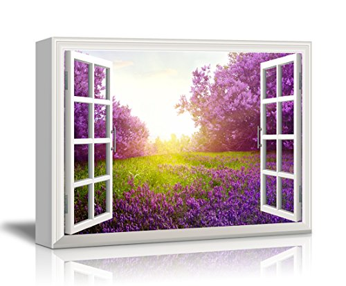 Print Window Frame Style Wall Decor Purple Flower and Green Grassland under Bright Sunshine Gallery Stretched