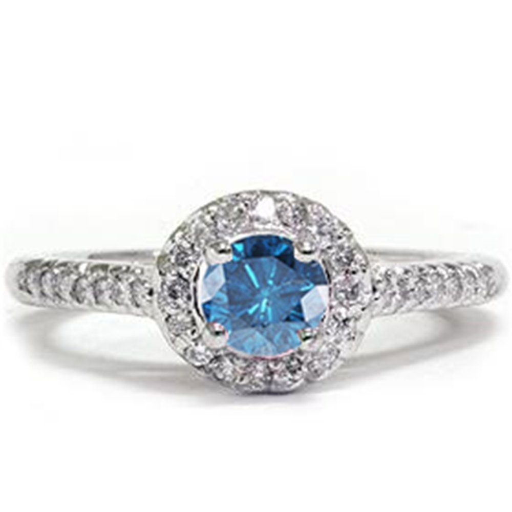 5 8ct Blue Diamond Pave Halo Ring 14K White Gold