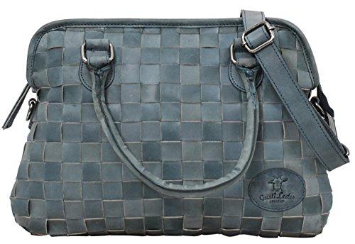 Gusti Leder studio ''Sophie'' borsa shopper a mano tracolla città lavoro sera elegante graziosa spalla a mano blu turchese 2M47-29-11