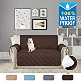 H.VERSAILTEX Luxurious Quilted Furniture Protector Stay in Place with Silicon Rubber Print Microfiber Soft and Water-repellent (Love Seat: Brown) - 75'' X 90''