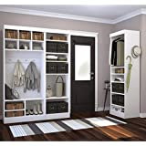"""Bestar Furniture 26873-17 Pur 86"""" Mudroom Kit with 20 Open Storage Sections and Bench in"""